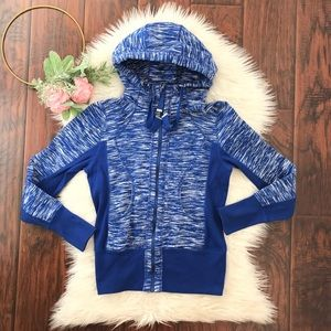 Zella Blue Space Dye Zip Up Athletic Jacket